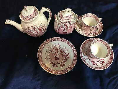 Antique Staffordshire Allerton Red May Mae with Eggs 10 Piece Child Tea Set