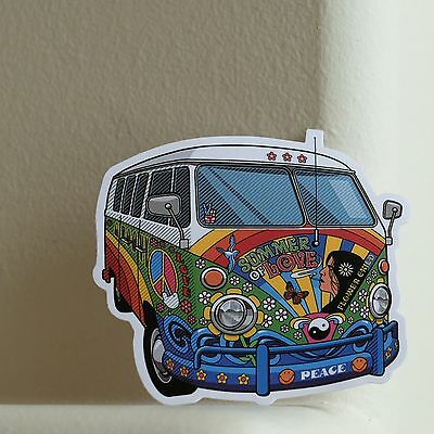 Vintage VW Bus Hippie Retro Peace Summer of Love 7x8cm DECAL STICKER #2369