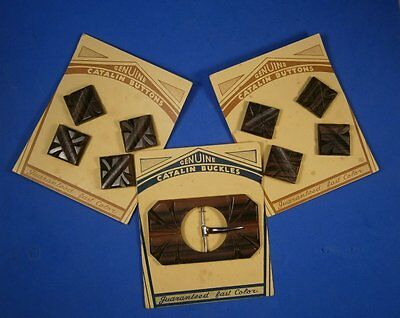 CATALIN Bakelite FAUX BOIS Buckle and 8 Buttons on ORIGINAL CARDS Wood Finish