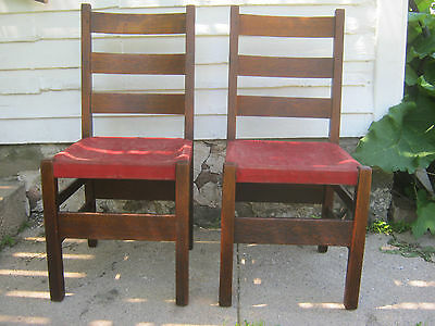 PAIR Arts & Crafts Oak Dining Chairs by Gustav Stickley - No. 306 1/2 MARKED
