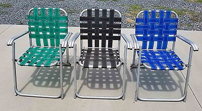 3 VINTAGE 3 ALUMINUM TUBE FRAME WEBBED FOLDING LAWN CHAIRS 1950's