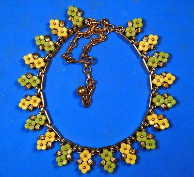 Signed CORO FLOWERS! Vintage Thermoset Lucite Floral Necklace, Great for Summer