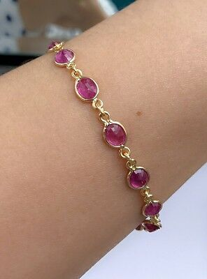 14k Solid Yellow Gold Cute Tennis Bracelet, Natural Oval Ruby 7.25 Inches, 8 TCW