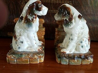 Antique Majolica Springer Spaniel Bookends