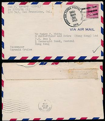 US ARMY + AIR FORCE POST OFFICE to SHIP CARONIA HONG KONG 1956 AGENT BUTTERFIELD