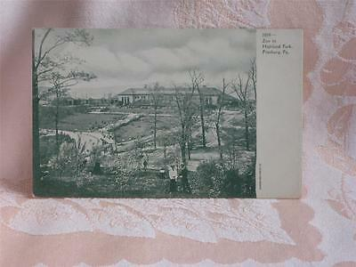 Antique Pc Gray/green Picture, View Over Zoo In Highland Park, Pittsburg, Pa