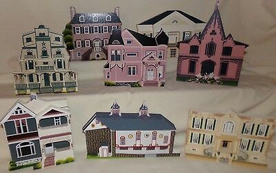 Shelias Collectible Wood House LOT OF 8 ~ 1990-1993 ~ Signed