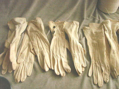 Vintage Edwardian Cloth Gloves NOS FOWNES LOT 5 Snaps Saxony Lisle