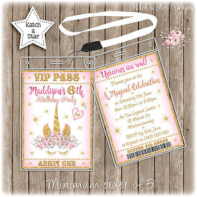 MAGICAL FLORAL GOLD UNICORN LANYARD BIRTHDAY PARTY PERSONALISED INVITATION x 1