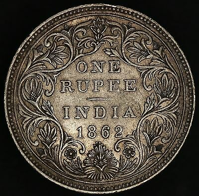 India - British: 1 rupee 1862 Type A bust, type II reverse, 0/4