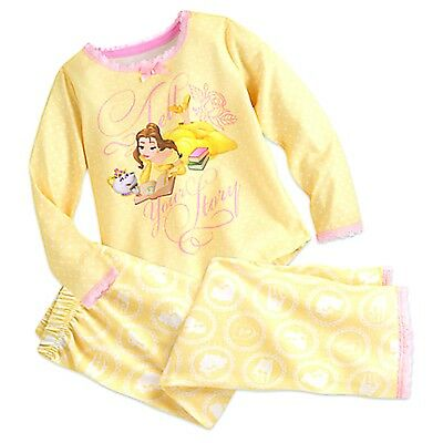 NEW Disney Store Princess Belle Deluxe Pajama Set Beauty and The Beast Size 9-10