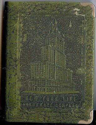 * Vintage Leather & metal book coin/bill bank New York Life Insurance Co Zell Co