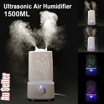 1.5L 7LED Light Air Humidifier Ultrasonic Steam Aroma Diffuser Purifier Mist AU