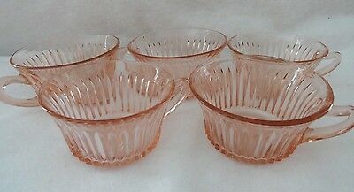 Queen Mary Vertical Ribbed Pink Depression Glass Cups -  Set of 5