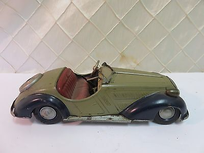 "Vintage Distler Tin Keywind Wind Up German Toy Model Car 9.5"" Antique"