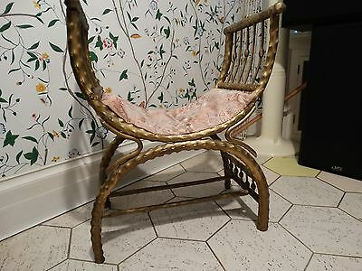 Vintage Mid-Century Hollywood Regency Gilt Rattan Stool