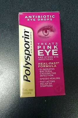 polysporin antibiotic Pink eye drops 15 mls Heal-fast formula (FAST SHIP!)