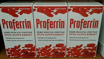 Proferrin Heme Iron Polypeptide Supplement Therapy 3 x 90 tablets (fast ship!)