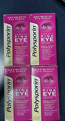 polysporin antibiotic Pink eye drops 4x15 mls Heal-fast formula (FAST SHIP!)