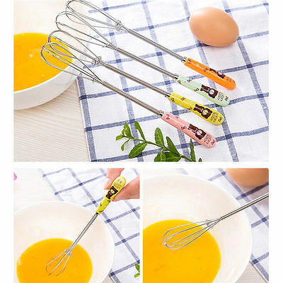 Kitchen Cake Bake Stainless Steel Whisk Stirrer Handle Mixer Egg Beater Frother