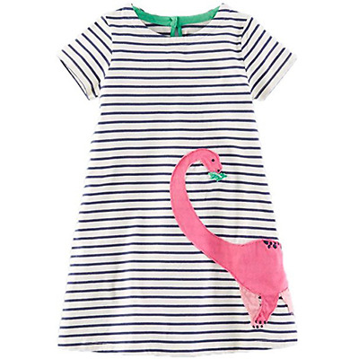 Girls Dinosaur Dress Navy Striped Pink Brontosaurus Short Sleeve 18M 2T 3T 4 5 6