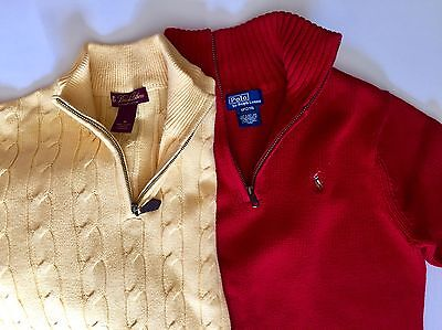 Boys Polo By Ralph Lauren Red & Brooks Brother Yellow Cable Knit Sweater Size M