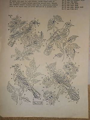 Vintage Tri Chem~Large Liquid Embroidery Picture~Four Types Of Birds~11X15 Each