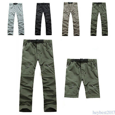 Mens Quick Dry Pants Detachable Fishing Hiking Outdoor Sports Trousers Cool KW10