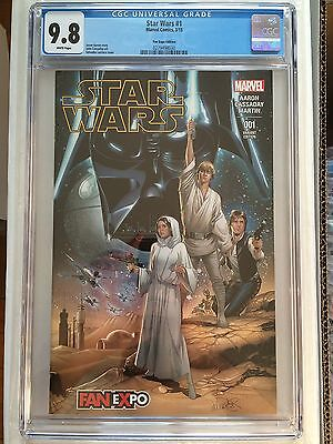 CGC 9.8 Star Wars #1 *White*2015*Fan Expo Edition Variant*New Case*
