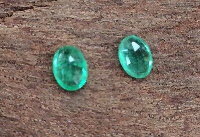 2PC OVAL CUT NATURAL EMERALD PAIR 4MM x 3MM FACETED LOOSE GEMSTONE