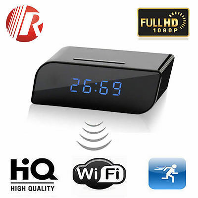 Full HD Home Wireless Alarm Clock Hidden Spy Motion Detection P2P WiFi IP Camera