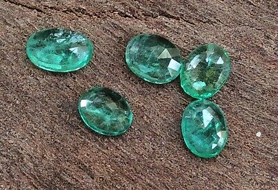5PC OVAL CUT NATURAL EMERALD PAIR 4MM x 3MM FACETED LOOSE GEMSTONE