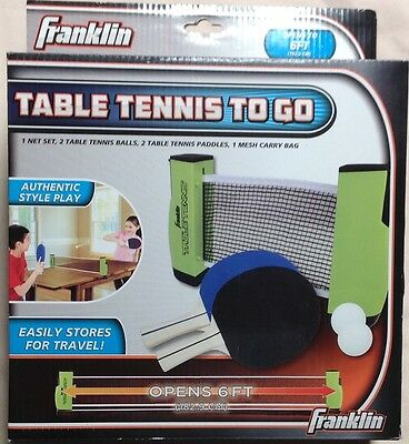 NEW Franklin Table Tennis To Go Ping Pong Set Net Paddles Balls Carry Bag