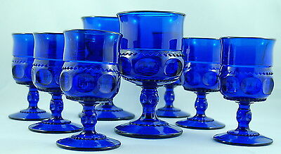Cobalt Blue Indiana Glass Thumbprint Pattern Set of 8 Cordial & Water Goblets