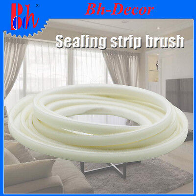 Doors Windows Sealing Brush Strip Self Adhesive Excluder Weather Stripping White