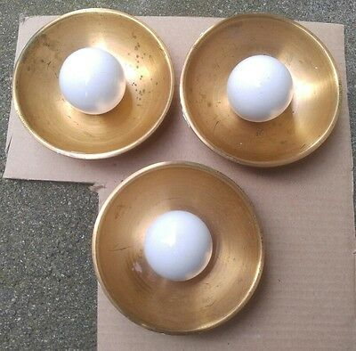 3 FANCY Vintage Brass + Porcelain  40s Art Deco Cabinet Handles Drawer Pulls