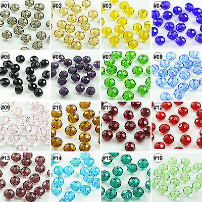 100/500pcs Mixed Colour Synthetic Crystal Round Flat Loose Beads 4x6mm 8x10mm