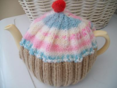 Hand knitted Cupcake  tea cosy medium teapot (Pastel fair isle )