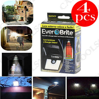 4PCS Ever Brite 4 Led Outdoor Light-AS ON TV Everbrite Solar Powered & Wireless