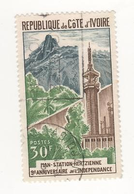 1969 IVORY COAST  9th Anniv of Independence - 30f. Radio Station SG#322 Used FU