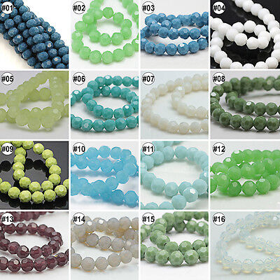 100/500pcs Mixed Colour Synthetic Crystal Imitated Jade Round Faceted Beads
