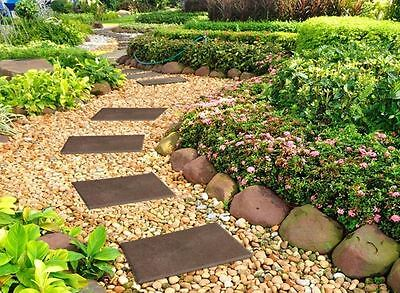 Garden Path Stepping Stone Recycled Rubber Heavyweight Patio Yard Decor Set of 4