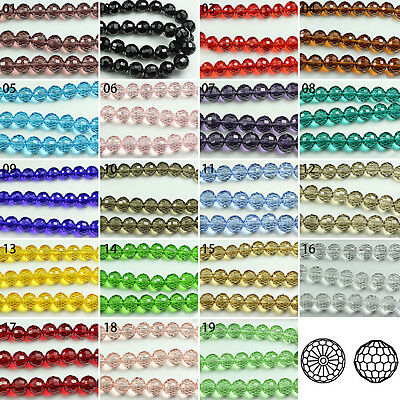 100/500pcs Mixed Colour Transparent Synthetic Crystal  Round Faceted Beads