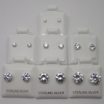 925 Sterling Silver Clear Round CZ Cubic Zirconia 2-8mm Stud Earrings UK SELLER