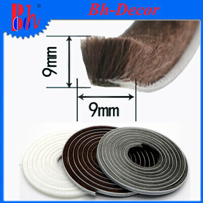 9x9mm Doors Window Seal Strip Brush Pile Self Adhesive Draught Weather Stripping