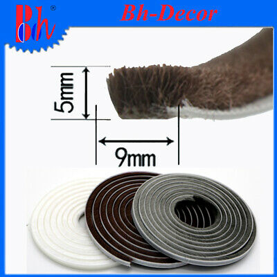 9x5mm Door Window Seal Brush Strips Self Adhesive Draught Excluder Weatherstrips