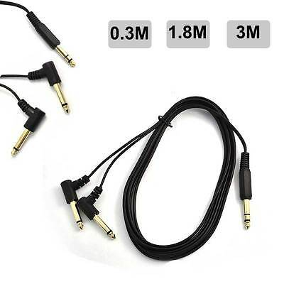 6.35mm Male Stereo to Dual 6.35mm Male TRS Right Angle Y Splitter Audio Cable