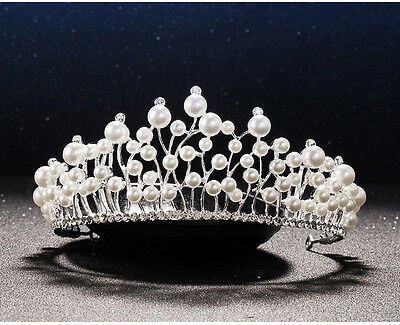Wedding Bridal Tiara Crystal Rhinestone Silver princess pearl Crown Pageant Prom