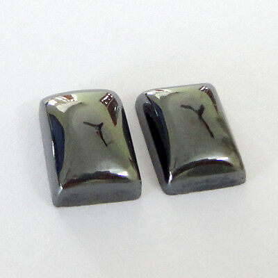 Gemstone Hematite Loose Cabochon Rectangle 14x10mm 30Cts 2Piece Lot # 11204