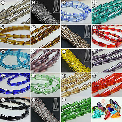 50/100pcs Mixed Colour Synthetic Crystal Gemstone Tower Shape Loose Beads